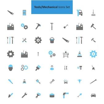 Инструменты механический набор иконок