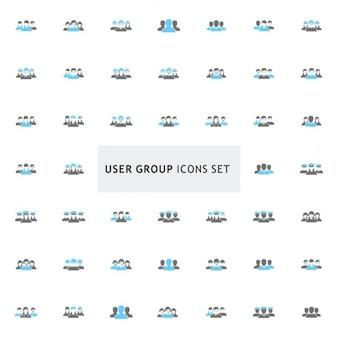 Черный и синий группа пользователя набор иконок
