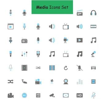 Черный и синий медиа набор иконок