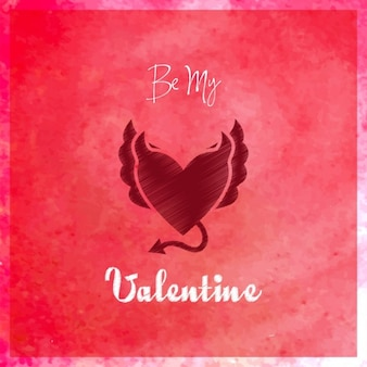 Красный фон акварелью с сердцем, день святого валентина