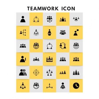 Работа в команде иконки векторный набор