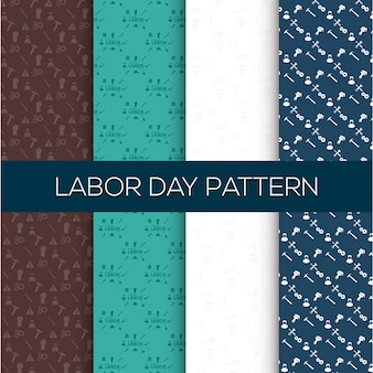 幸せな労働の日のパターンの背景セット