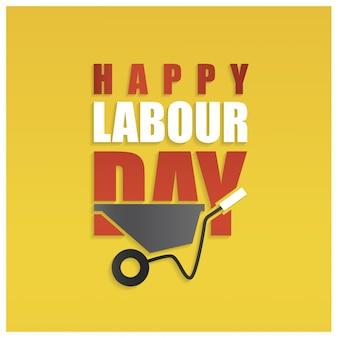 イエローの背景に幸せな労働者の日シンプルなタイポグラフィー