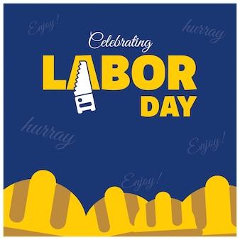 幸せな労働者の日クリエイティブタイポグラフィーと労働者ヘルメットの黒いパターンの背景
