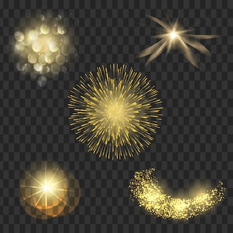 Набор светового эффекта прожекторные вспышки звездных частиц векторная иллюстрация
