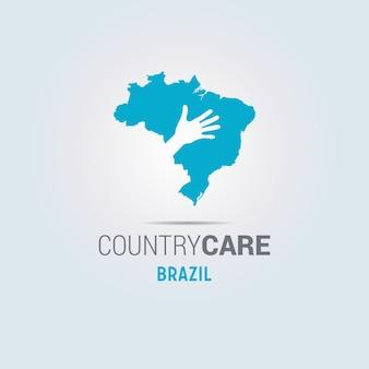 Иллюстрация изолированных руки, предлагающие знак с картой бразилии
