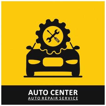ツールと車の黄色の背景とオートセンターの自動修理サービス歯車のアイコン