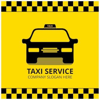 タクシーアイコンタクシーサービス黒タクシー車黄色の背景