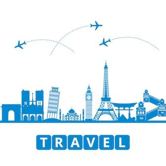 ラヴェル、観光、輸送世界のランドマークを背景に