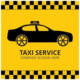 タクシーアイコンタクシーサービスタクシー車黄色の背景