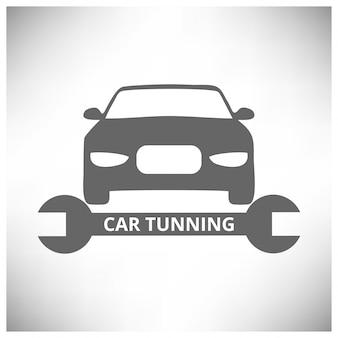 オートセンターの自動修理サービスツールと車の灰色の背景