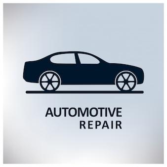 自動車センターの自動修理サービス車の灰色の背景