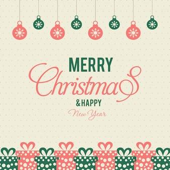 クリスマスボールと贈り物。ポスター。緑色と赤色