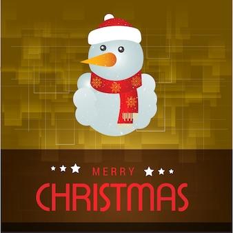 黄色の抽象的な背景にタイポグラフィーと雪だるまを含むクリスマスポスター