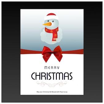 暗い灰色の背景にタイポグラフィーと雪だるまを持つクリスマスカード