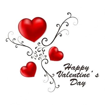 Счастливый день святого валентина карты с красными сердцами