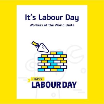 Счастливый рабочий день рабочего дня с синим и желтым вектором темы