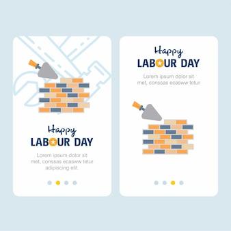 Счастливый рабочий день рабочего дня с желтым и синим вектором темы