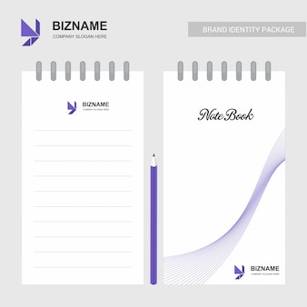 会社のデザインロゴとスタイリッシュなデザインのメモ帳
