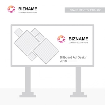 Логотип вектора рекламного щита с эмблемой карты мира