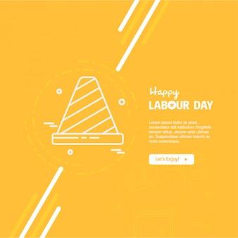 幸せな労働日オレンジの背景