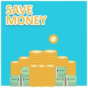 お金を節約ベクトル金融成長のコンセプト
