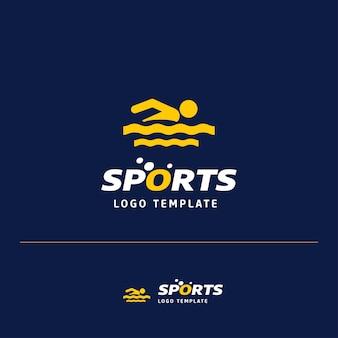 スイミングスポーツロゴデザイン