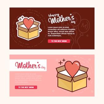 女性のロゴとピンクのテーマベクトルと母の日のカード