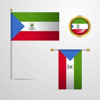 赤道ギニアは、バッジベクトルとフラグデザインを振る