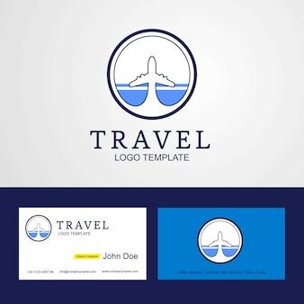 トラベルアルタイ共和国の旗ロゴと名刺デザイン