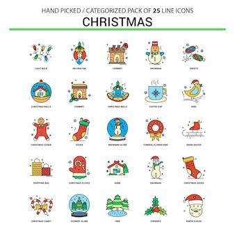 クリスマスフラットラインアイコンセット