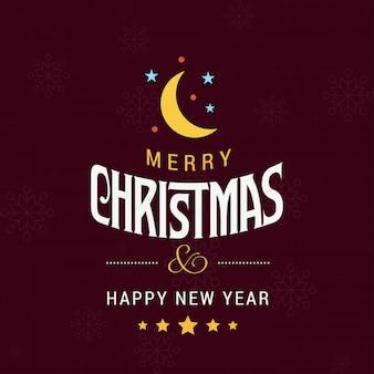 赤い背景とタイポグラフィのベクトルとメリークリスマスカード
