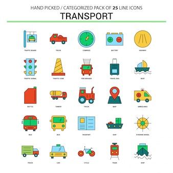 トランスポートフラットラインアイコンセット