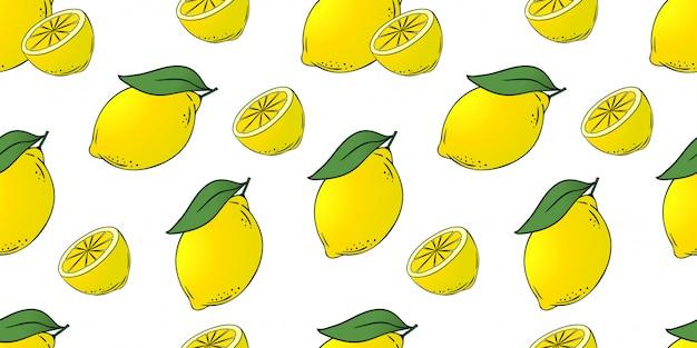 Бесшовный фон из лимонов с листьями