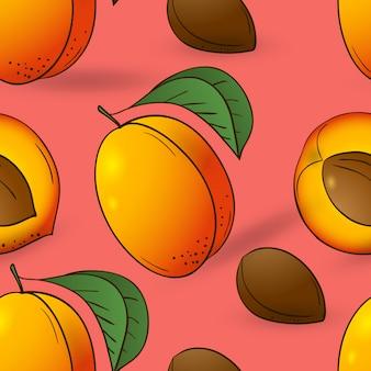 Бесшовный фон из абрикоса с листьями