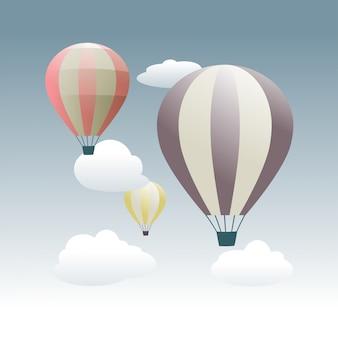 空を飛んでいるカラフルな熱気球