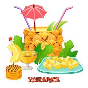 パイナップルのカクテル。デザートとジュース。