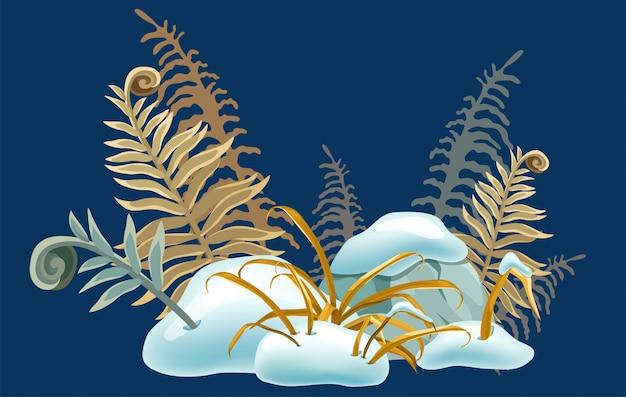乾いた草で孤立した雪のキャップ。