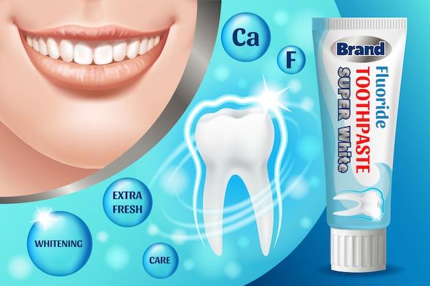 Зубная паста дизайн рекламы. косметический продукт.