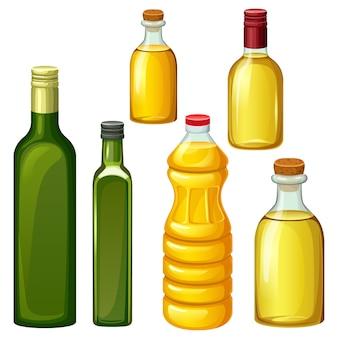 植物油のボトルのセット。