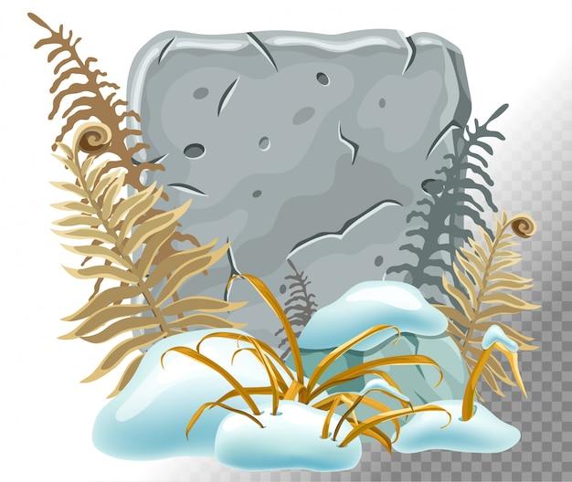 Каменная доска с сугробами, травой, папоротником.