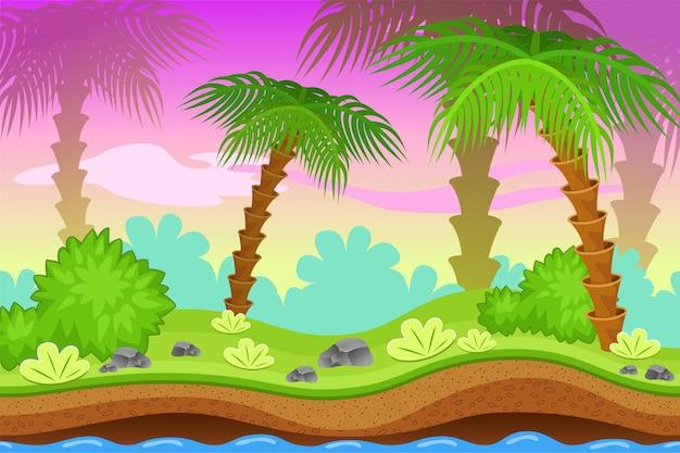 ヤシの木のある風景。