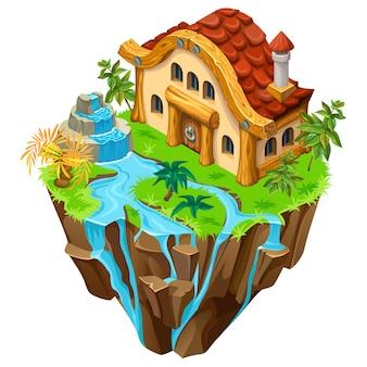 島の等尺性の石造りの建物。