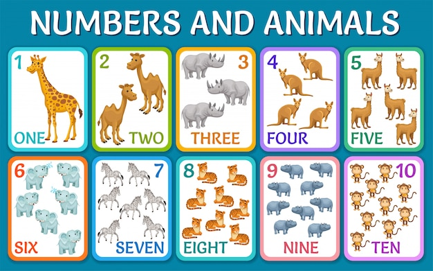 サバンナの動物、砂漠。数字付きのカード。