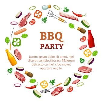 Шаблон вечеринки с барбекю.