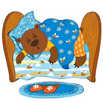 眠っているクマ。