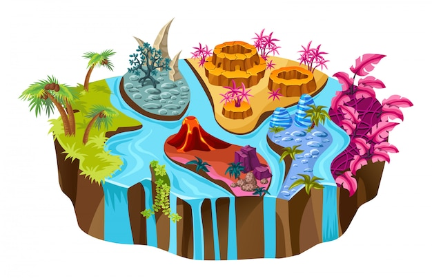 Изометрические остров с реками и деревьями.