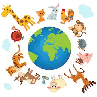 Милые животные на планете. защита земли.