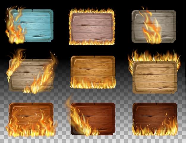 Деревянные игровые панели с пламенем горят.