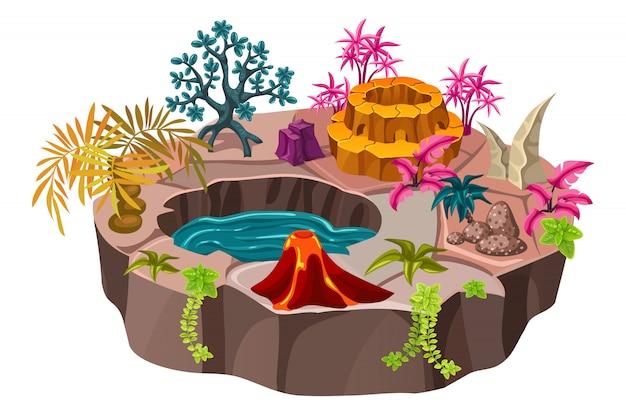 池と等尺性の無人島。